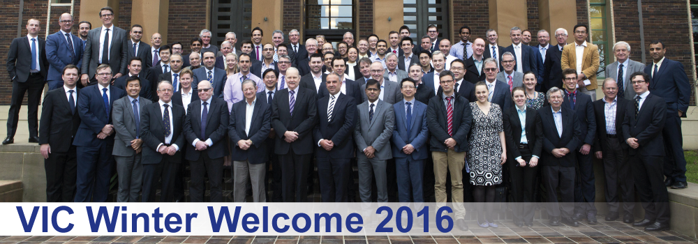 The attendees at the Winter Welcome 2016 gathered on the steps of the venue.
